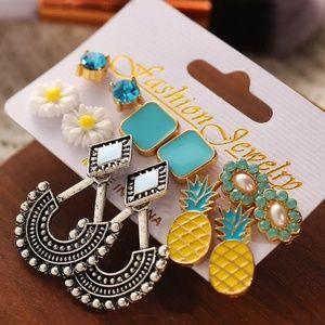 pineapple flower Crystals boho gypsy earrings